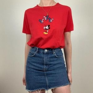 Y2K Disney's Mickey Mouse Red T-Shirt Top